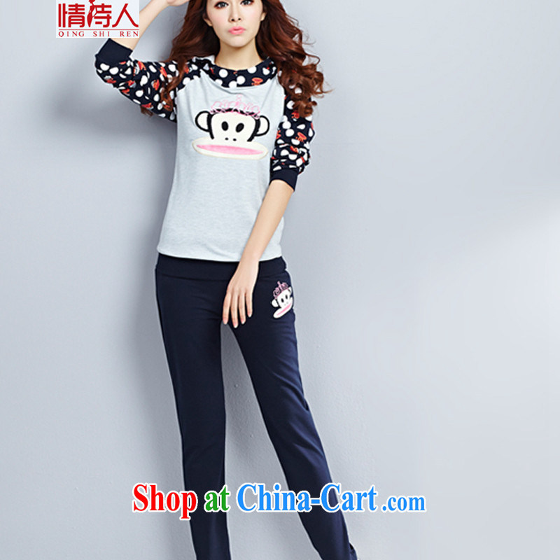and poet _ spring loaded new sweater 2 piece female sport and leisure package new leisure big mouth monkey s 2851 royal blue XXL
