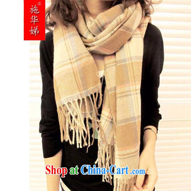Shi Hua Tai 2015 hot Korean Korean autumn Ms. winter knitting scarf shawl two ultra-long tartan scarf W 8012 beige tartan