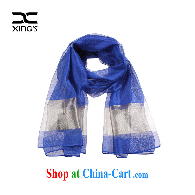 Xing's women's flagship store 2015 classy and Ms. stitching long silk scarf high-end quality blue