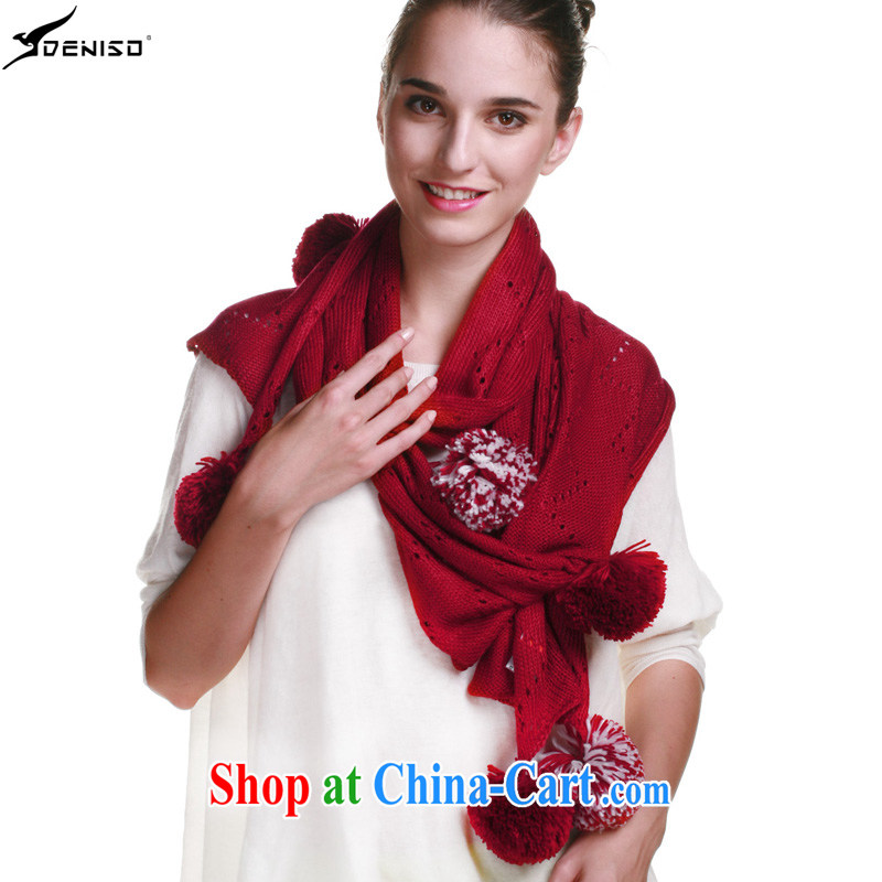 Genuine deniso manual knitting scarf autumn and winter, scarves long warm with ball scarf DS - 1233 red