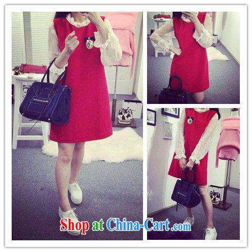 collar pin Pearl design gross? vest skirt solid lace dress Kit 1171 red are code