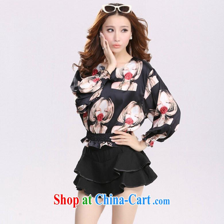 2015 spring female lady pattern loose clothes European root yarn short skirts pants 9297 black M