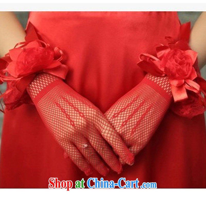 In Luang Prabang in the Limit where mad cow disease 2015 new bridal wedding dresses Korean sunscreen bowtie crystal gauze short gloves red