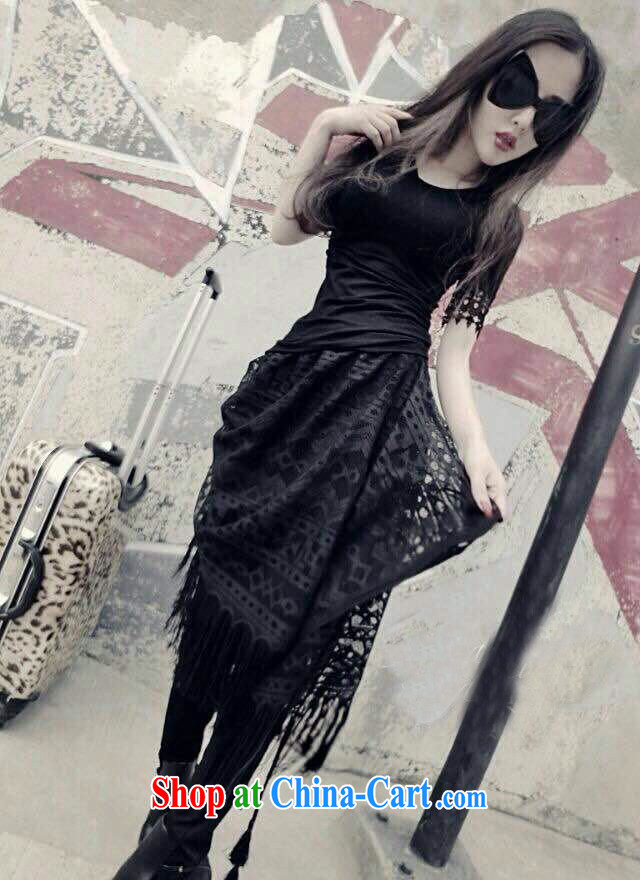 Exotic, classic T-shirt with short sleeves and lace skirt, trouser press kit 8033 black are code
