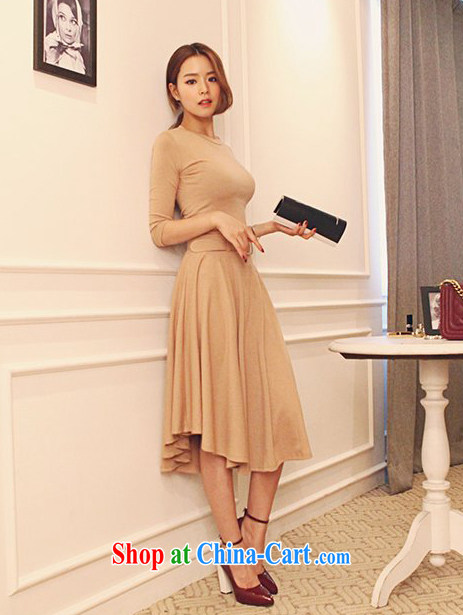 2015 new leisure lady T-shirt T pension large body long skirt two piece kit 0430