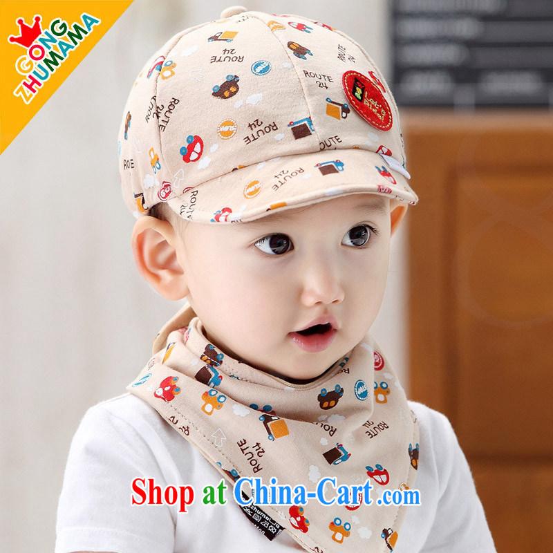 american economic Princess Korean spring the latest children baby cotton baseball hat drooling towel 2-piece set men and women baby peaked hat beige