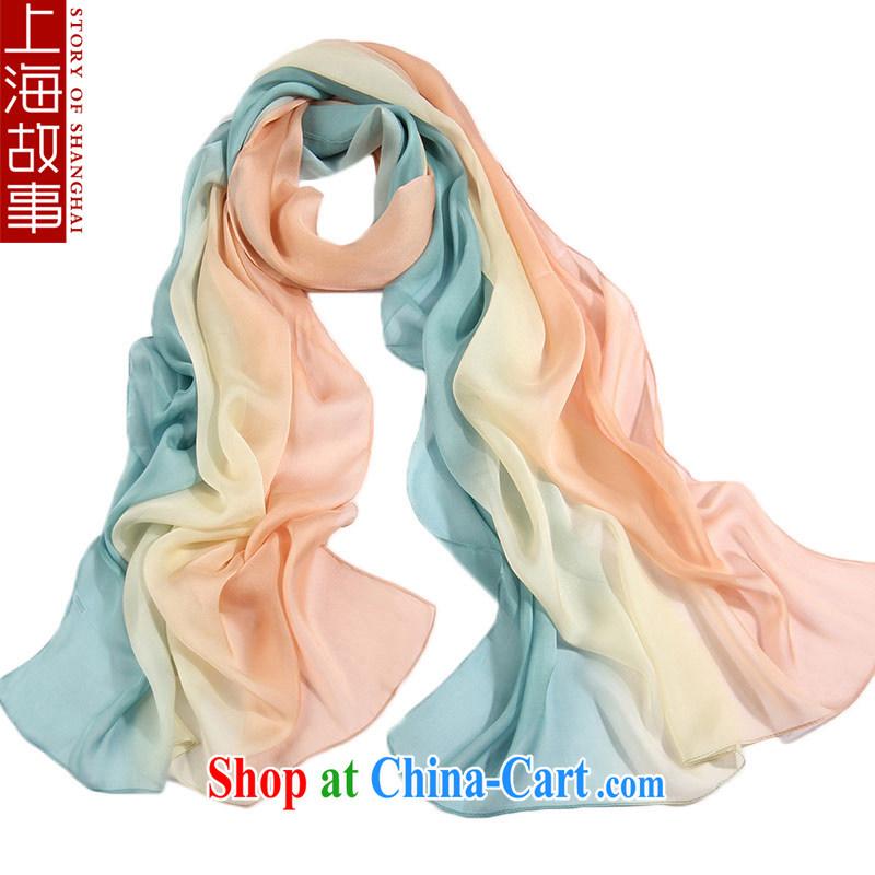 Shanghai Story upscale silk silk scarf, Ms. summer sunscreen sauna silk scarves long muslin square bare blue 51