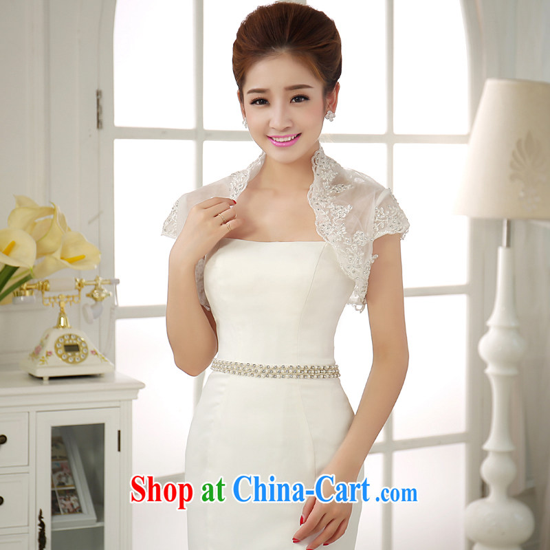 2015 new marriages, shoulder wedding dresses 7 sub-sleeved shawl lace short-sleeved Ma folder small jacket short sleeve lace lace water drilling