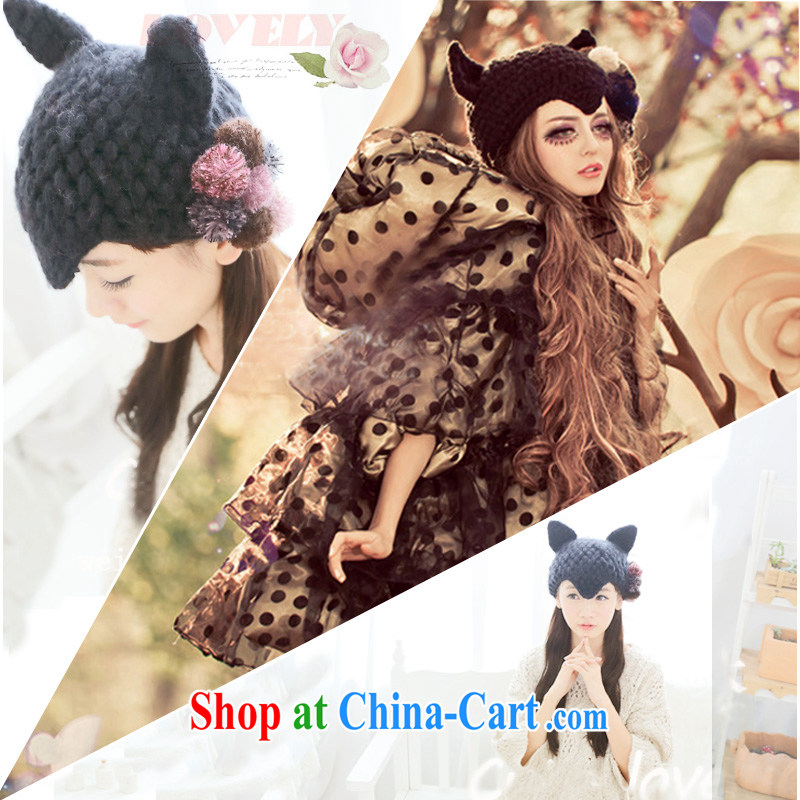 Harajuku wind fall and winter lovely hair ball cat ear knitting knit hat Koosh Ball Cap female 520 black M _56 - 58 cm_