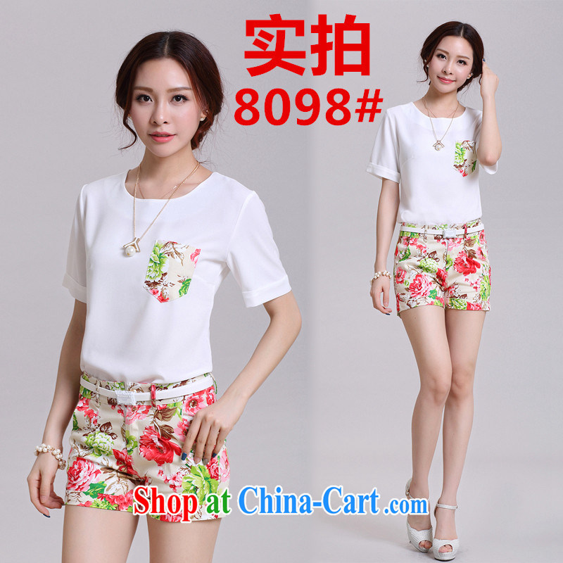 2015 summer new Snow woven small fresh stamp Leisure package Women's Shorts two pack summer 8098 white XL