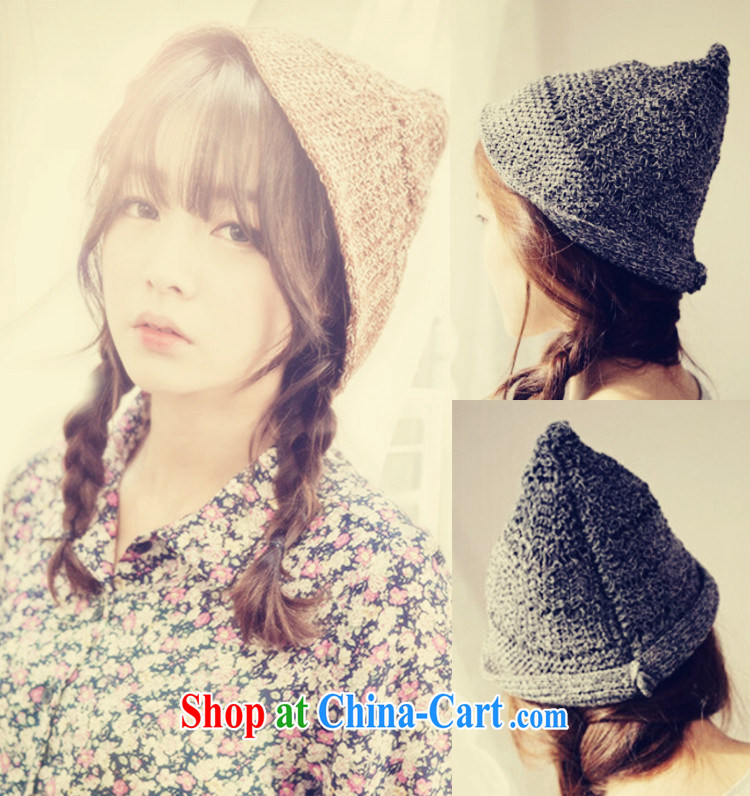 The autumn and winter, the only us sum girls warm knitting knitting tip cap 547 transparent M _56 - 58 cm_