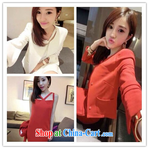 Love, 2015 boutique autumn new straps long skirt suit small jacket kit D 6022 red S