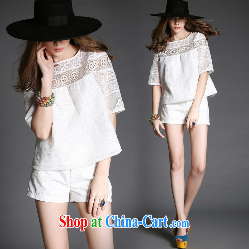 Summer new female lace lace Openwork small fragrant wind Kit two-piece 9015 white XL