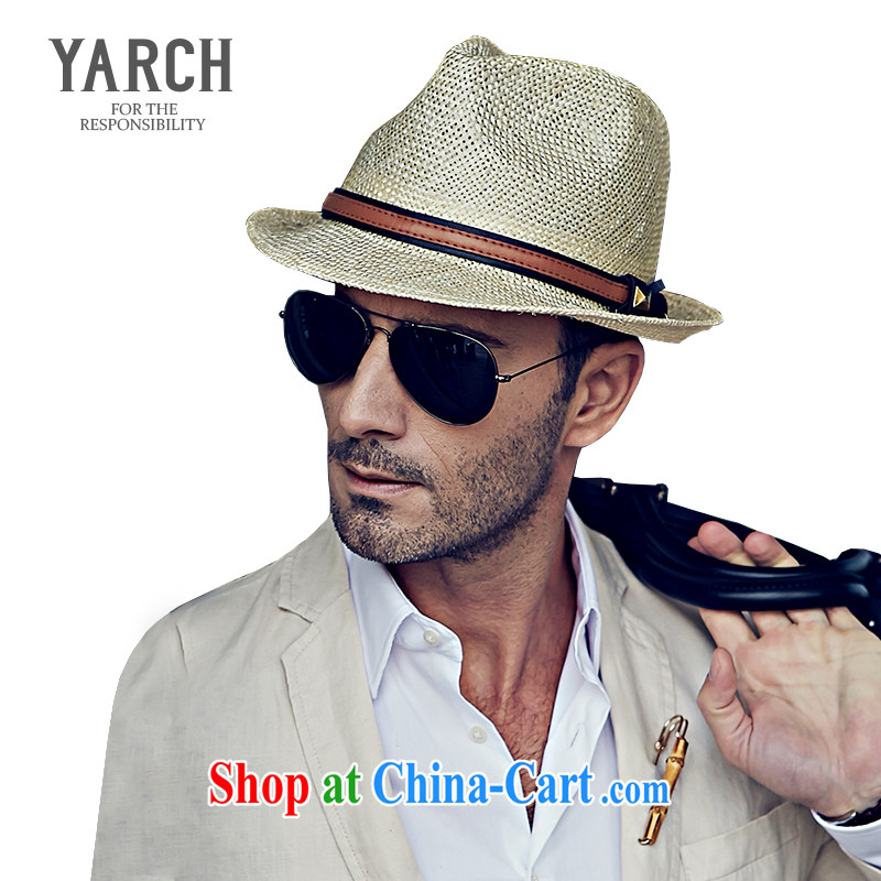 The original policy men's straw hats spring and summer artist in Europe and fishing caps, cornices and UV light seaside jazz cap L 012 D. Natural