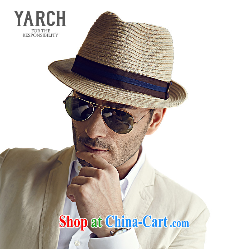 The original policy men's upscale straw hats spring and summer English outdoor resort shade canopies, paper hat jazz cap L 014 D. Natural