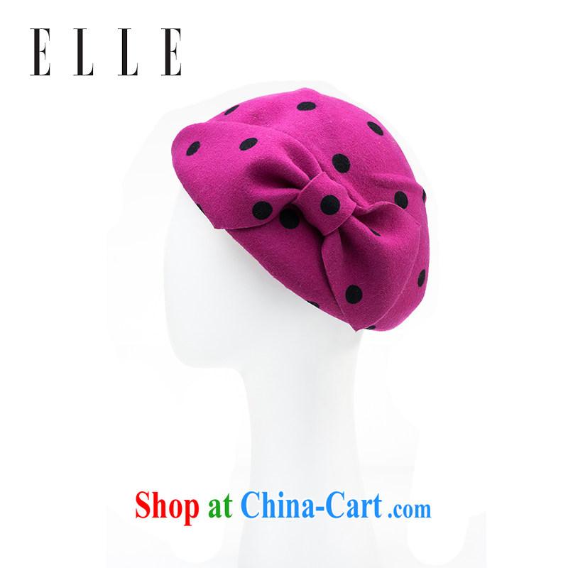ELLE female cap fashion cap 100 ground autumn and winter warm hat hair ball hat peach 12
