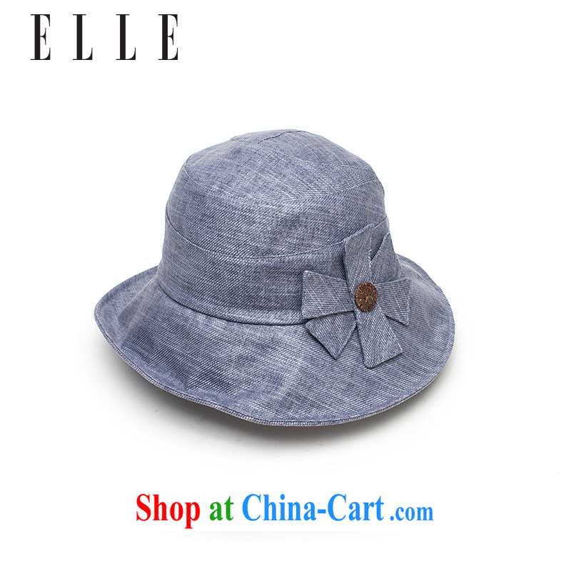 ELLE linen simple lady cloth cap with flowers and elegant 100 ground hats hat dark blue 59