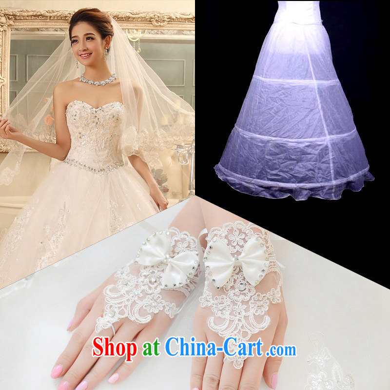 2015 new bridal wedding dresses accessories dress stays and yarn gloves 3 piece set