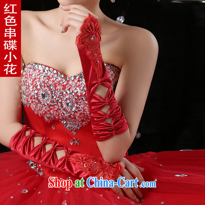 Bridal gloves wedding gloves Long no means lace red mittens red without the flower, wrinkles