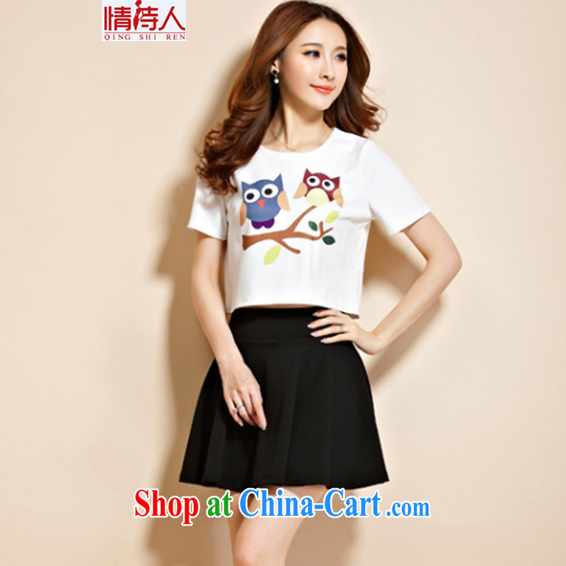 Poet and 2015 new summer skirt Ms. Kit skirt sports stylish two-piece dresses skirts G 5831 photo color (short-sleeve) XL, poet (QING SHI REN), online shopping