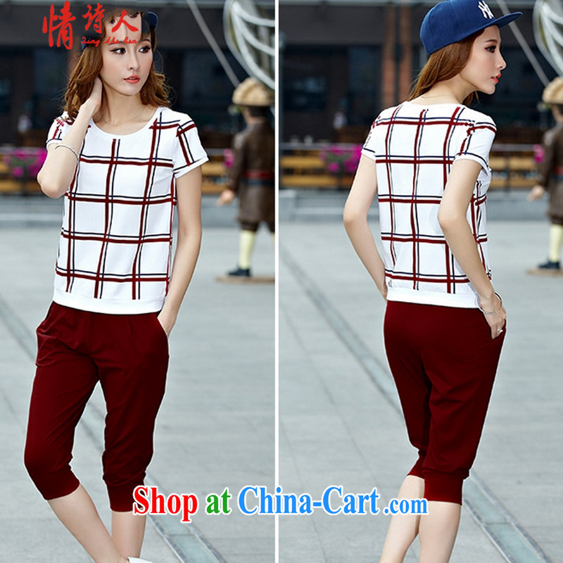 Love poet new short-sleeve 7 pants female Korean fashion stitching sport 20 wine red XXL