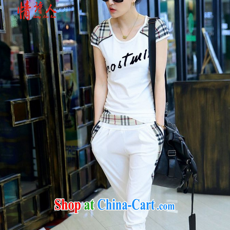 and poet 2015 Leisure package girls summer fashion graphics thin checked short-sleeved Sport Kits female Two-piece B 9380 white XXL _115 - 130 _ jack