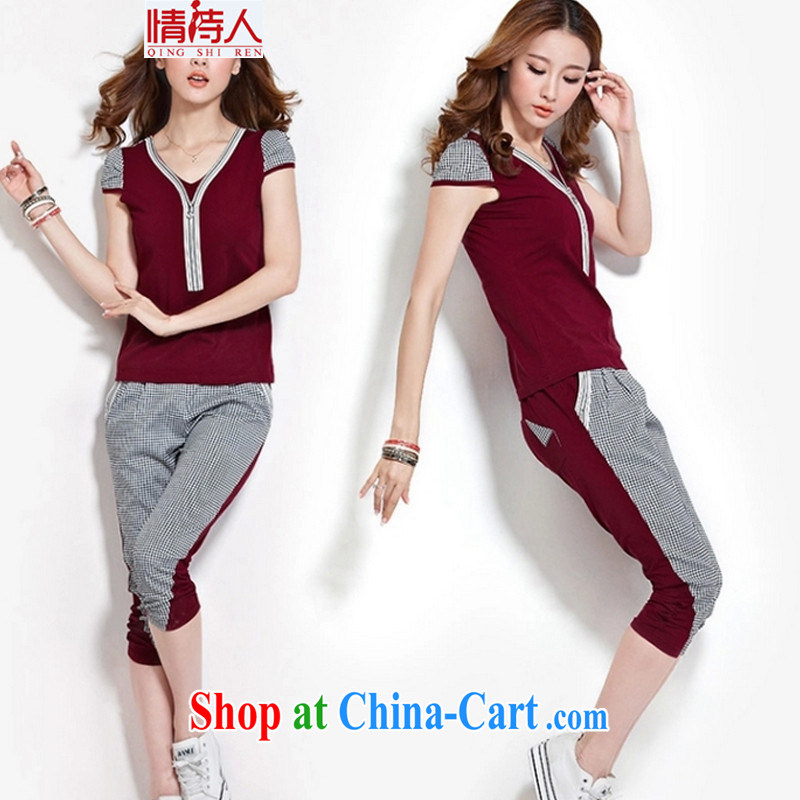 Love poet new grid the code short sleeve fashion beauty lounge suite 7 pants jm 9123 wine red XXL