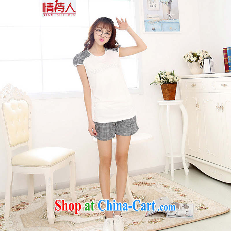 and poet 2015 cultivating short-sleeved shorts stylish Korean version, sport and leisure package new women 8444 N large compartments XXL
