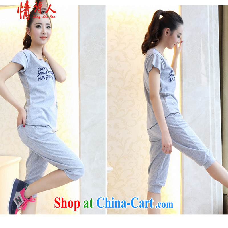 Poet and 2015 new sport and leisure package short-sleeved shorts sports wear women wear two-part B 2028 blue XL