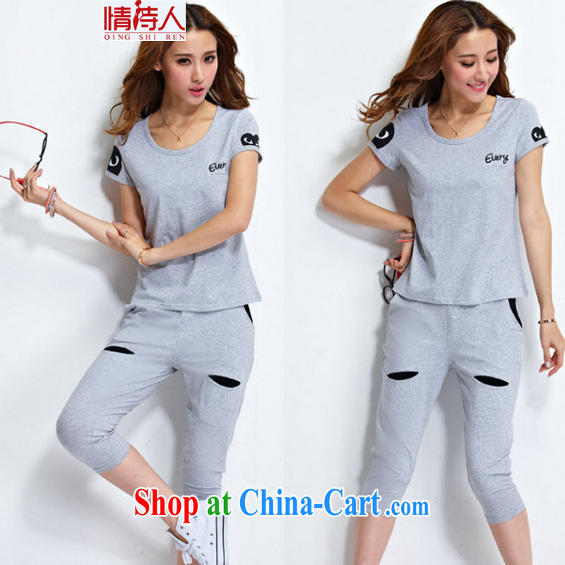 and poet 2015 Korean summer New Leisure package stamp short sleeve 7 pants sport kits N 8443 light gray XL