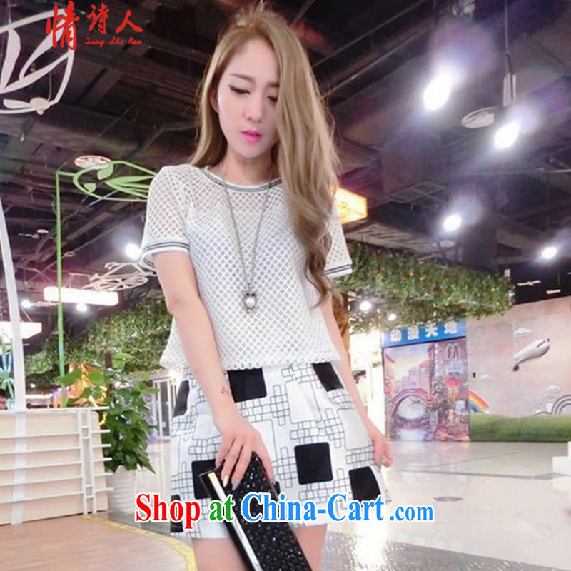 Poet and 2015 new Korean Beauty lace stylish package T-shirt skirt dress set f1120 white S