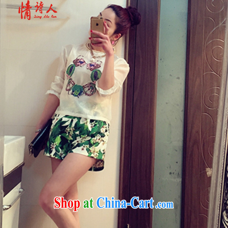 and poet 2015 round collar, the root yarn T-shirt-waist widening stamp duty and shorts 3 Piece Set n 517 photo color S