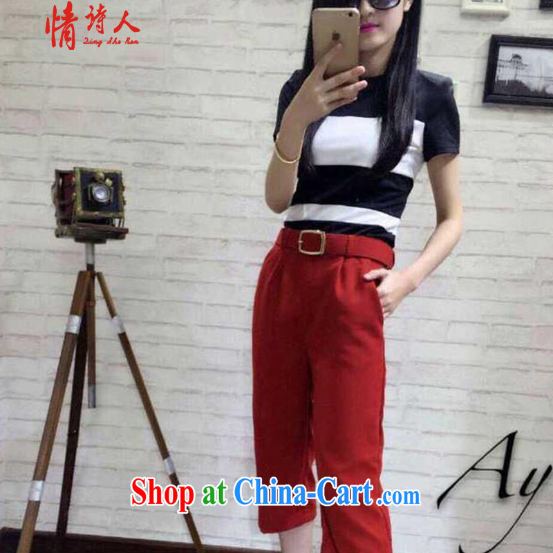 and poet 2015 most new stylish black 100 spell-color T-shirt style beauty graphics thin 100 ground trousers belts R 6353 red S
