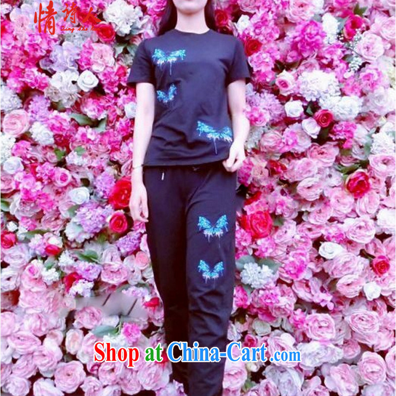 and poet 2015 summer new heavy industry embroidery butterfly pattern short sleeve shirt T trousers Leisure package R 6398 black M