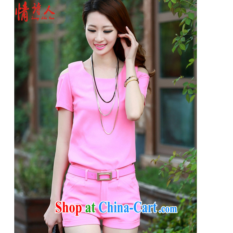Love poet new Korean bare shoulders female short-sleeve shorts leisure two-piece with a small-yuan Hong, FF 8833 pink XL