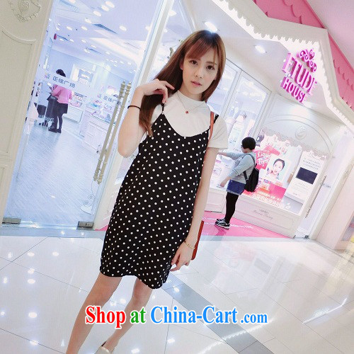 Summer 2015 new Korean version Two-piece strap dresses small fresh cotton wave point short-sleeved leisure Kit 8627 black are code