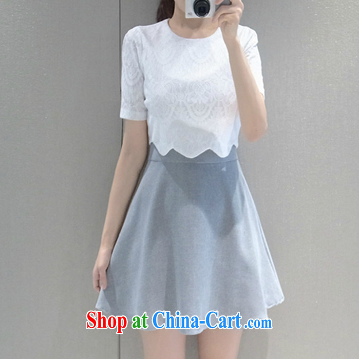 Spring and Summer new Korean sexy girls lace stitching snow woven leave of two short-sleeved dresses beauty short skirts 8635 white XXL