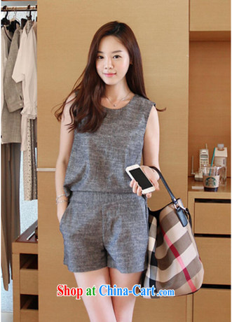Summer 2015 new Korean sleeveless simple solid color cotton the stylish package leisure shorts Kit 8252 light gray XL
