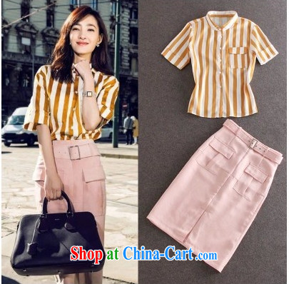 striped shirt snow woven shirts T-shirt the forklift truck package and semi-dress two-piece 9916 orange S