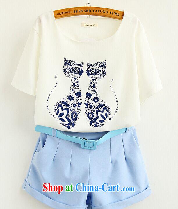 Summer 2015 new Korean Air Korean fan kitten stamp T shirts shorts package 937 wine red XL