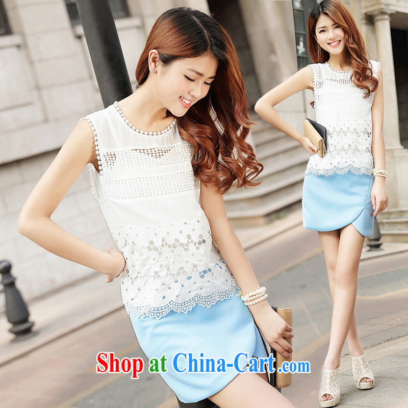 2015 new European and American style Sleeveless T-shirt small fragrant wind skirt package Leisure package girls summer 9263 blue XL