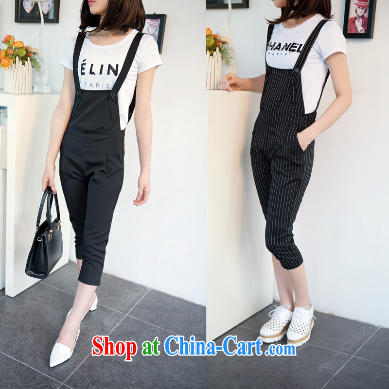 Only 2015 summer new modern style bars with casual pants T-shirt shoulder straps two-piece 1618 #dark gray M