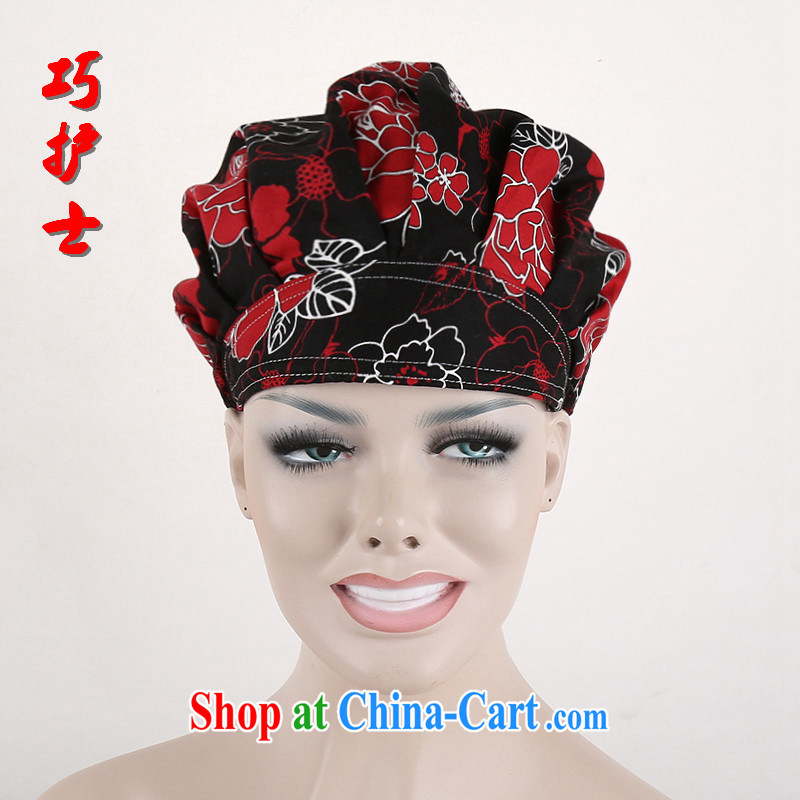 Nurses are all cotton stamp surgery nurses cap shaggy cap dental work cap beauty therapist spend hat dark red Peony