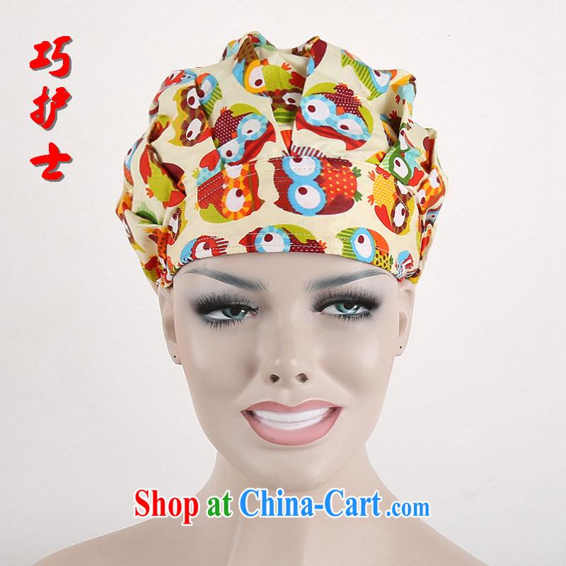 Nurses are shaggy cap textile dust working cap anti-static Food Health shop flower hat cotton stamp surgical cap owl