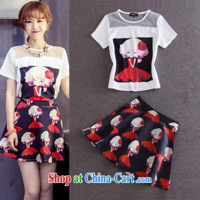 Summer new cute cartoon stamp fluoro T-shirt stamp body skirt Kit 5519 white XL