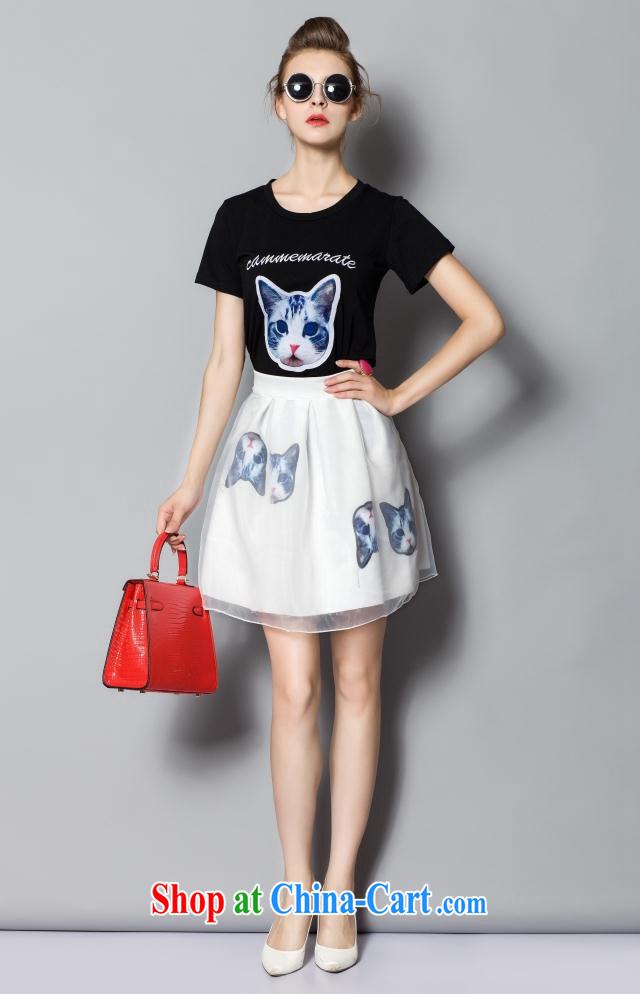 2015 summer new embroidered cat cotton T 100 ground short skirt Kit 895 black S