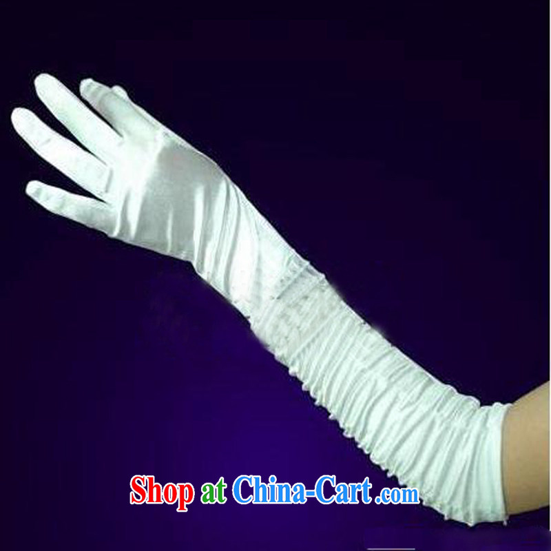 Pure bamboo love yarn long satin gloves, wrinkles high pop-up wedding gloves wedding dresses accessories gloves winter white